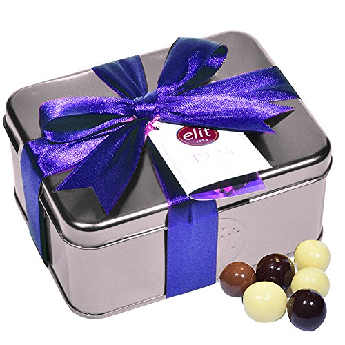 Elit - Assortment of Chocolate Fruits & Nuts Dragee (Almond, Hazelnut, Orange peels covered by Dark, Milk, White Chocolate) in Special Design 1924 Silver Metal Box With Purble Ribbon - 250g/8.82oz