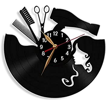 hairdresser vinyl record wall clock by. Black Bedroom Furniture Sets. Home Design Ideas