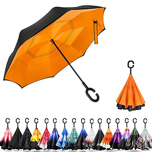 Umbrella Windproof Nylon (Ylovetoys Double Layer Inverted Umbrella C-Shaped Handle, Windproof Car Open Folding Reverse Umbrella UV Protection Large Upside Down Straight Umbrella Car Rain Outdoor (Yellow Inside))