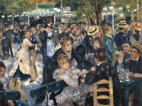 Pierre-Auguste Renoir - Dance at Le Moulin de la Galette, Size 24x32 inch, Gallery Wrapped Canvas Art Print Wall - Renoir Dance