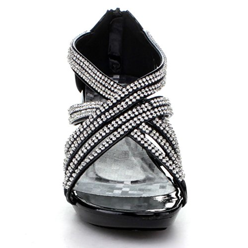 Delicatezza Donna Angel-41 Strass Abbelliti Sandali Con Il Cinturino Nero
