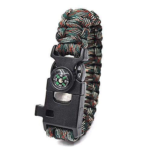 HZJC Survival Bracelet - Hiking Multi Tool,Fishing, Emergency Whistle, Compass for Hiking, Camp Fire Starter 5-in1 Set