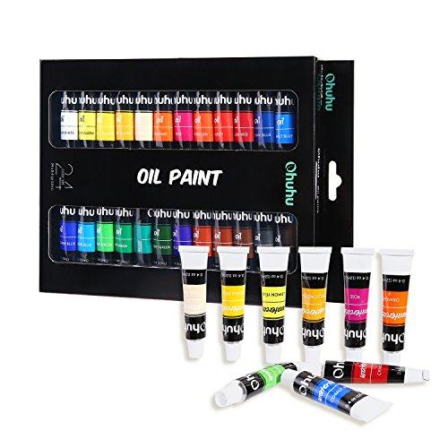 Ohuhu Oil Paint Set, 24 Colors Artists Paints Oil Painting Set, 12ml x 24 Tubes
