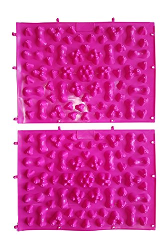 Shiatsu Foot Massage Mat – Yoga Acupressure Reflexology Therapy Pad for Feet (2 Pack) (Pink) by YFM