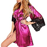 Lingerie for Women Babydoll Wugeshangmao Ladies Sexy Lace Bath Robe Silk Kimono Babysuit Nightgown Honeymoon Sleepwear Hot Pink