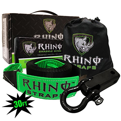 RHINO USA COMBO Recovery Tow Strap (30ft) & Shackle Hitch Receiver - Lab Tested 31,518lb Break Strength - Heavy Duty Draw String bag Included - Triple Reinforced Loop End to Ensure Peace of Mind