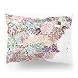 Society6 Spain Map Flowers Composition Pillow Sham Standard (20'' x 26'') Set of 2