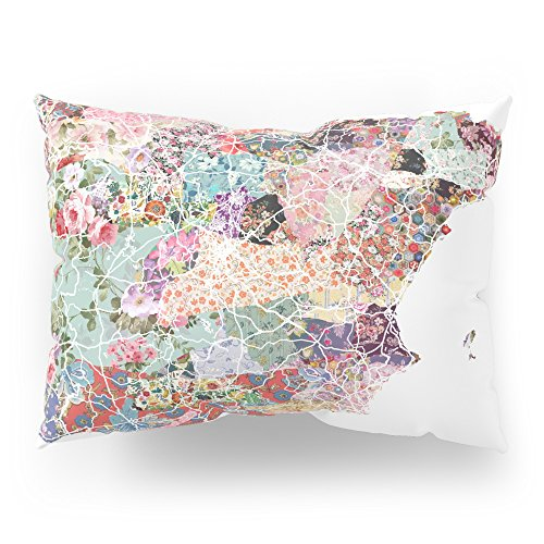 Society6 Spain Map Flowers Composition Pillow Sham Standard (20'' x 26'') Set of 2 by Society6