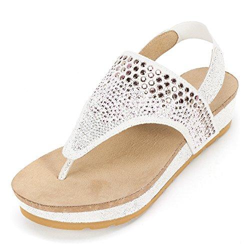 (WHITE MOUNTAIN 'Safari' Women's Sandal, White E-Print - 9.5 M)