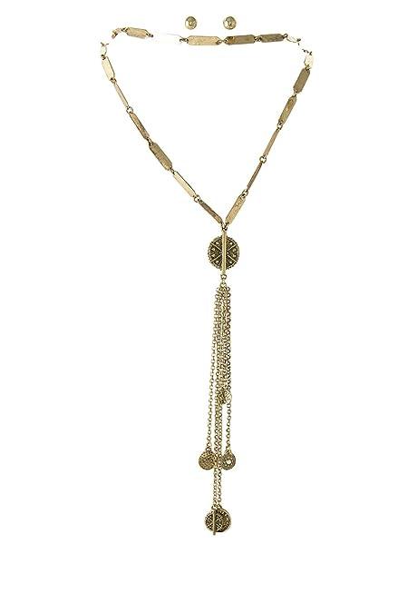 6b65ec138f14 Envejecido tono dorado 2 capas gargantilla Lariat Look tibetanos Dangle  gota collar 14  quot de