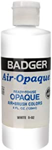 Badger Air-Brush Company Air-Opaque Airbrush Ready Water Based Acrylic Paint, White, 4-Ounce