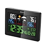 aom A001 Color LCD Wireless Weather Station with Forecast Humidity Temperature Alarm Clock , Outdoor Sensor