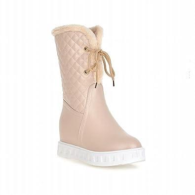 Women's Lace up Fashion Cute Sweet Lovely Winter Warm Hidden Wedge Heel Snow Boots
