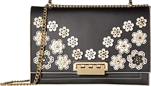 ZAC Zac Posen Women's Earthette Large Chain Shoulder Black Hex Floral One Size (Link Bag Black Leather Shoulder Chain)