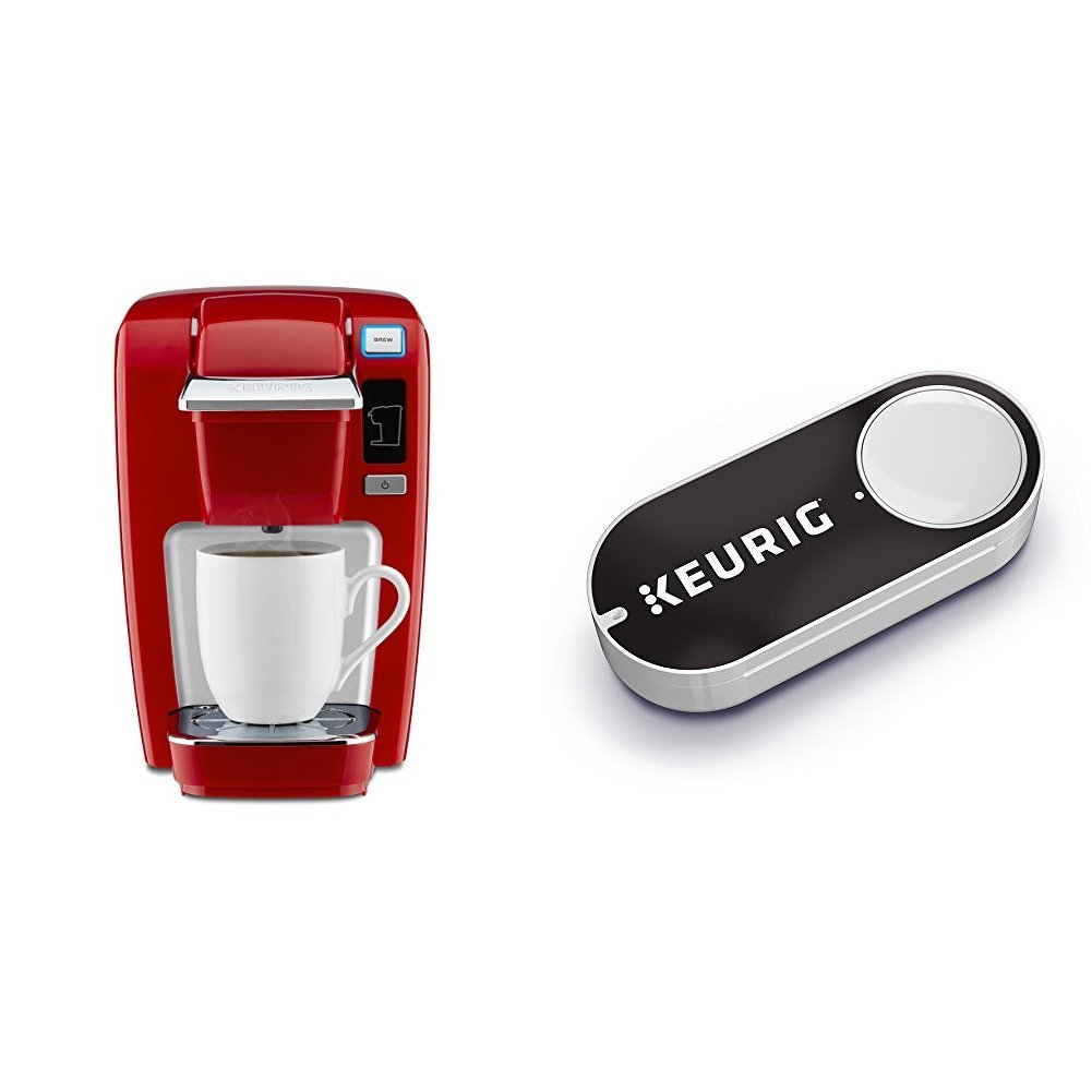 Keurig K15 Single Serve Compact K-Cup Pod Coffee Maker, Chili Red & Keurig K-Cup Pods Dash Button