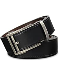 Men's Holeless Leather Ratchet Click Belt with Automatic Sliding Buckle - Trim to Fit