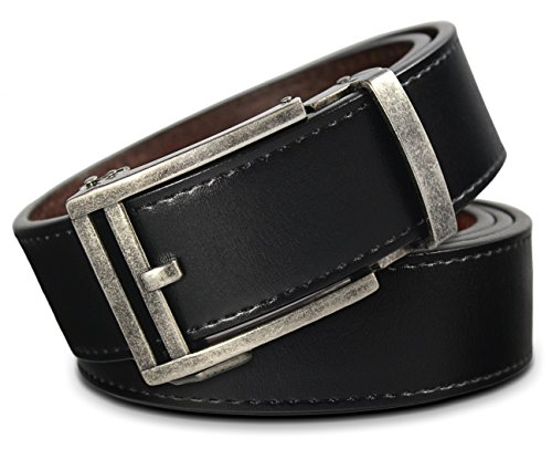 Men's Leather Ratchet Click Belt - Hemingway Antique Silver Buckle with Charcoal Black Leather Belt (Trim to Fit: Up to 40'' Waist) (Leather Covered Buckle Belt)