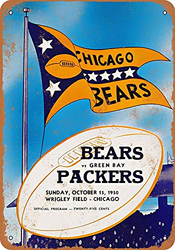 Jacksoney Tin Sign New Aluminum 1950 Chicago Bears vs. Green Bay Packers Vintage Metal Sign 11.8 x 7.8 Inch ()