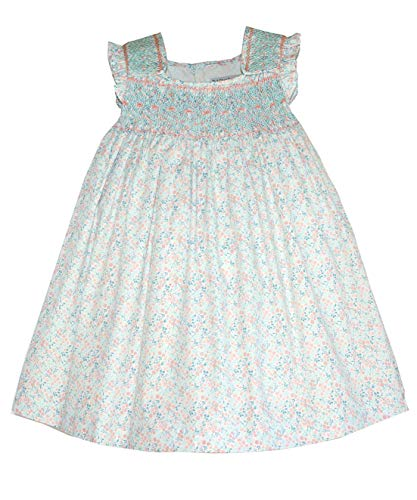 Little Girl Smocked Dresses (Daydress with Smocking and Embroidering in Mint & Pink Floral)