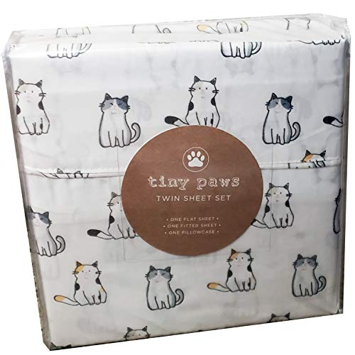 Tiny Paws Grey and Orange Kitty Cat Themed Cute Bed Sheets (Twin)