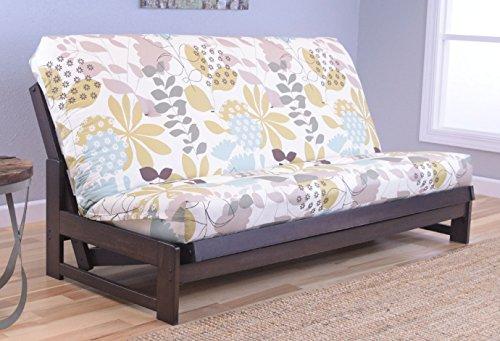 Colorado Reclaim Mocha Frame and Mattress Set w/ Choice of Fabrics, 7 Inch Innerspring Futon Sofa Bed Full Size Aspen Style (Frame w/ English Garden) from Raw Futons