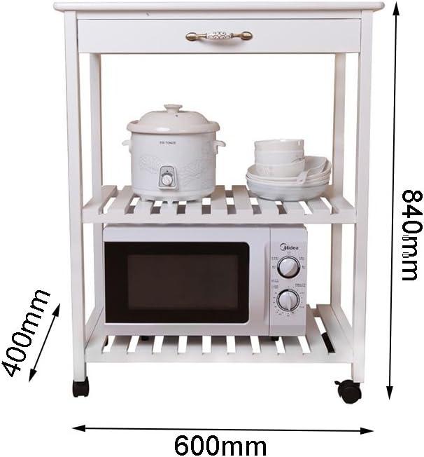 Scaffale da Cucina in Legno massello Forno a microonde Rack a Pavimento a 3 Strati Scaffale Bianco Fornello da Cucina Fornello da Cucina Rack di stoccaggio Carrello Rack Pot Rack