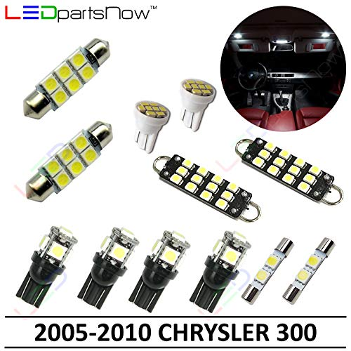 LEDpartsNow Interior LED Lights Replacement for 2005-2010 Chrysler 300 Accessories Package Kit (12 Bulbs), WHITE