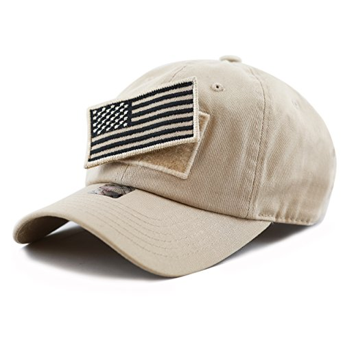 (THE HAT DEPOT Low Profile Tactical Operator with USA Flag Patch Buckle Cotton Cap (Khaki))