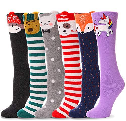 Girls Knee High Socks Soft Warm Cotton Lovely Novelty Socks Cute Animal Pattern 6 Pairs (4-14 Years Old, Animal B)