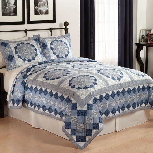 Blue Dahlia Quilt Set - Twin (Dahlia Quilt)