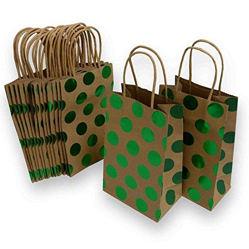 - Small Christmas Gift Bags, Kraft and foil hot-Stamp Polka-dot Design, 15 Small Bags, 5 1/4