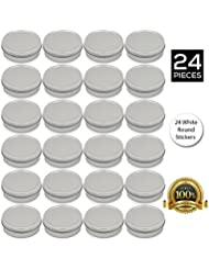 [24 Pack] Screw Top Round Steel Tin Cans 2 oz (60 ml) by SimbaLux® with Self Adhesive White Round Stickers
