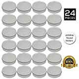candle metal lids - [24 Pack] Screw Top Round Steel Tin Cans 2 oz (60 ml) by SimbaLux® with Self Adhesive White Round Stickers