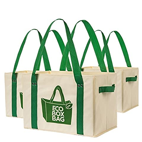Heavy Duty Collapsible and Reusable Shopping Bags with Fold Out Reinforced Bottom (Set of 3) - Eco Large Tote Bag
