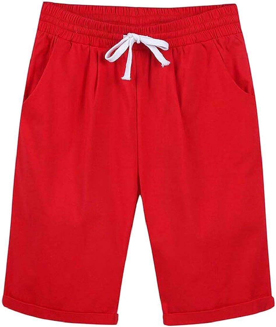 MOUTEN Women Bermuda Drawstring Pockets Elastic Waist Classic Comfy Shorts