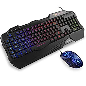 rainbow backlit wired gaming keyboard and mouse combo by havit black computers. Black Bedroom Furniture Sets. Home Design Ideas