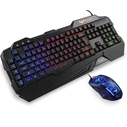 HAVIT Rainbow Backlit Wired Gaming Keyboard and Mouse Combo (Black)