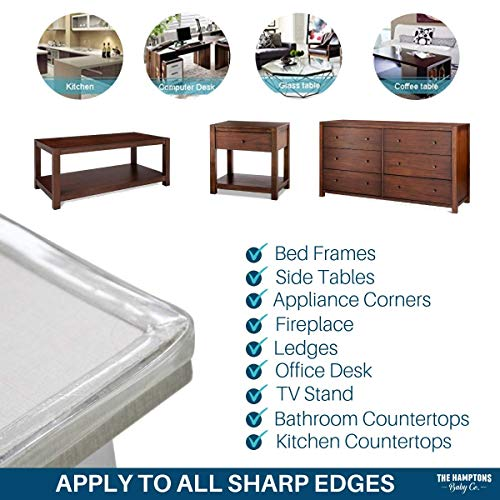 Clear Edge Protectors by The Hamptons Baby - 9-1ft Pieces with Premium Gel Adhesive - Guard Against Injuries on Sharp Edges in Your House, Use on Coffee & Dining Tables, Dressers, Desks and Much More by The Hamptons Baby (Image #6)