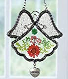 Grandmother Angel Sun Catcher - Pressed Flowers in Glass Angel Shaped Suncatcher with Silver Heart Grandma Charm - 4 1/2''