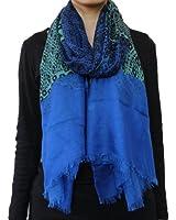 Seamaidmm Contrast Color Geometric Shape W/ Baby Fringe Voile Scarf Royal Blue