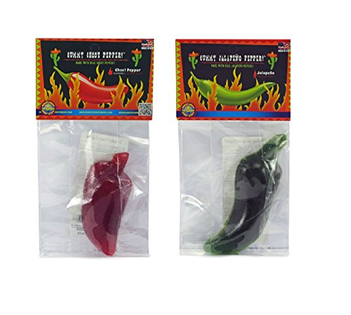 Chile Pepper Gummy 2 Pack – Apple-Jalapeno and Cherry-Ghost Chile - 3.5 oz Total Weight - Made with Real Peppers, Super Hot! by GGB of Raleigh