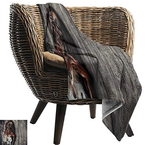 BelleAckerman Picnic Blanket,Zombie,Angry Dead Woman Sacrifice Fantasy Design Mystic Night Halloween Image,Dark Taupe Peach Red,Colorful   Home, Couch, Outdoor, Travel Use 35
