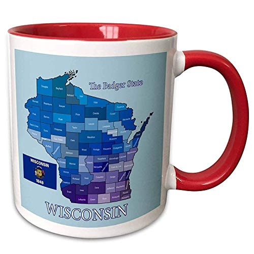(FiuFgyt States Flag And County Map Of Wisconsin With State Name And Nickname Red Funny Mug Christmas Gifts for Friends Ceramic Coffee Mug Cup 11oz)