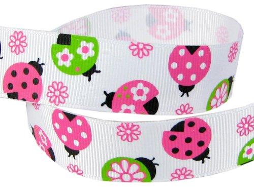 "(E044) Hip Girl Boutique 5yd 7/8"" Spring Fling Ladybug Grosgrain Ribbon--White"