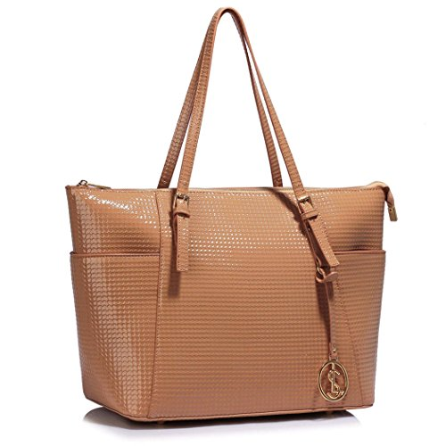 Bags Shopper Bag LeahWard Leather Pink CW30 Faux Women Patent Handbags Shoulder Oversize School Women's Quality For Holiday Shoulder Nude Bag qEqwxCtHf