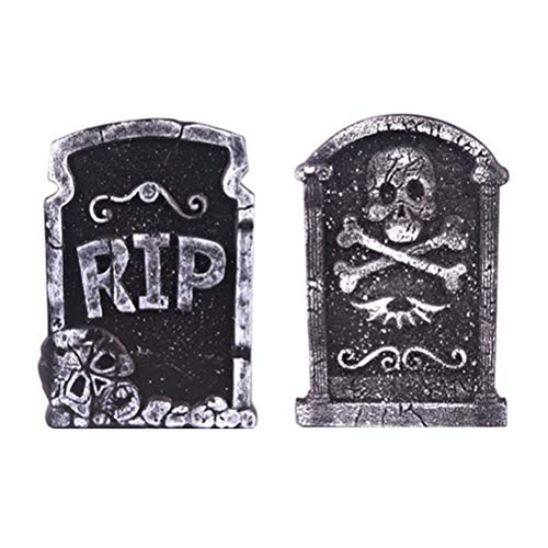 NUOBESTY Grave Stone Decoration Halloween Foam Tombstone Photo Props Skeleton Tombstone Haunted House Grisly Props Party Decor Yard Bar Decor 2pcs (Mixed Pattern)