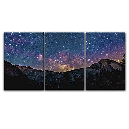 3 Panel Majestic Landscape under Starry Sky at Night Gallery x 3 Panels