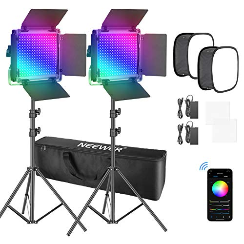 Neewer 2 Packs 660 RGB Led Light with APP Control, Photography Video Lighting Kit with Stands, Softbox and Bag, Dimmable 660 SMD LEDs/CRI95/3200K-5600K/0-360 Adjustable Colors/9 Applicable Scenes