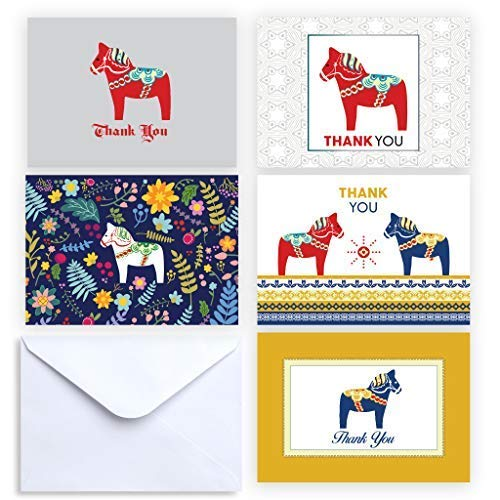 Paper Frenzy Dala Horse Collection Thank You and Note Cards with Envelopes - 25 ()
