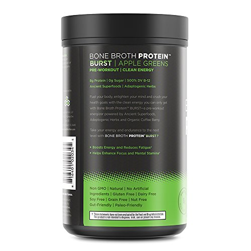 Ancient Nutrition Bone Broth Protein BURST Pre-Workout Energizer, Apple Greens Flavor, 30 Servings Size - Powered by Ancient Superfoods, Adaptogenic Herbs and Organic Coffee Berry